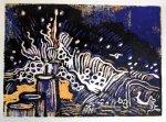 Wasser blau gelb schwarz - Blatt 8 (c) Linolschnitt von Susanne Haun