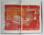 Boot und Meer rot gelb (c) Künstlerunikatbuch von Susanne Haun