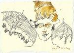 Blatt 74 Wie eine riesige Fledermaus , die ihre Jungen säugt (c) Zeichnung von Susanne