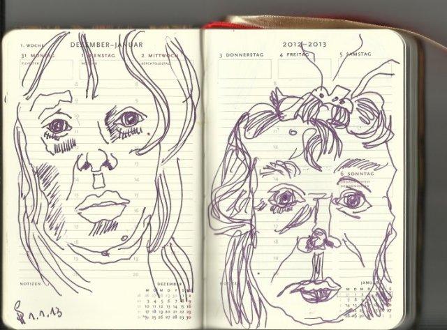 Mein Kalender 1. Woche (c) Zeichnung von Susanne Haun
