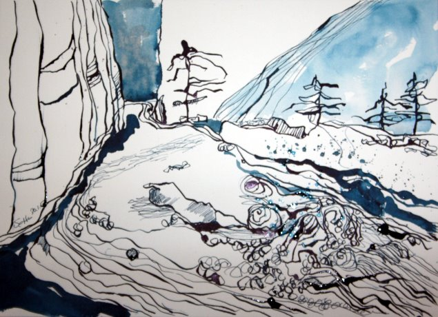 Traumlandschaft - 26 x 34 cm - Tusche auf Bütten (c) Zeichnung von Susanne Haun