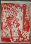 Erster Druck in Rot (c) Holzschnitt von Susanne Haun
