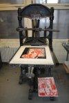 Die wunderschön alte Handpresse (c) Foto von Susanne Haun