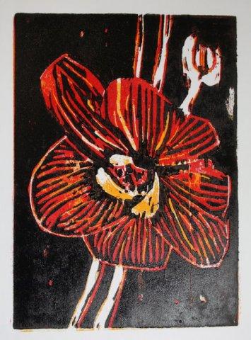 Blume 20 x 15 cm (c) Holzschnitt von Susanne Haun
