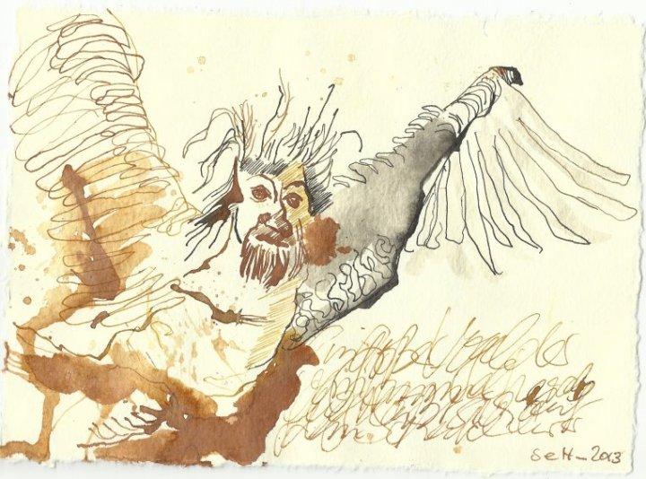 Blatt 105 Sein kleiner Kopf zeigt unter einer silbernen Haube ein Menschengesicht (c) Zeichnung von Susanne Haun