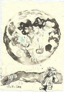 Blatt 109 Entstehung Mondlicht fällt auf das Kind (c) Zeichnung von Susanne Haun