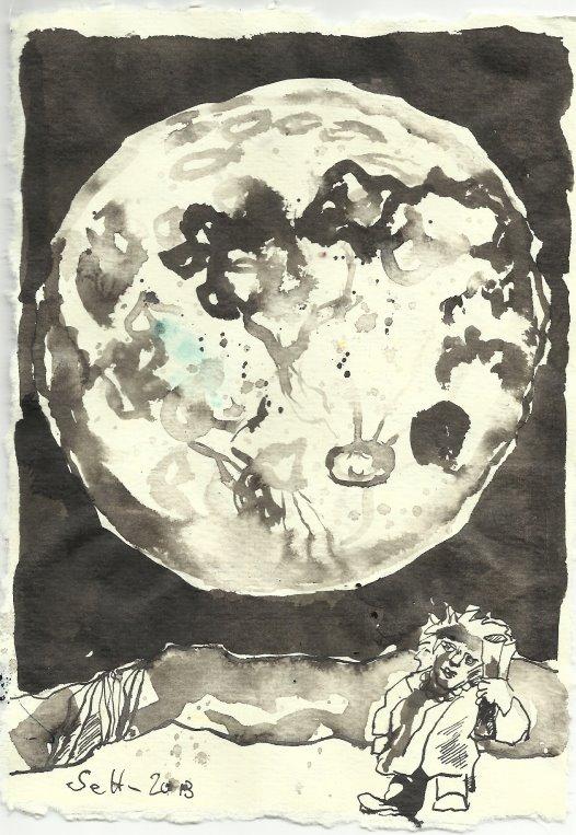 Blatt 109 Mondlicht fällt auf das Kind (c) Zeichnung von Susanne Haun