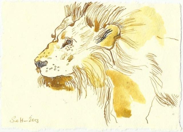 Blatt 95 Tierbändiger führen Löwen (c) Zeichnung von Susanne Haun