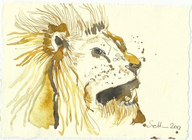 Blatt 96 Tierbändiger führen Löwen (c) Zeichnung von Susanne Haun
