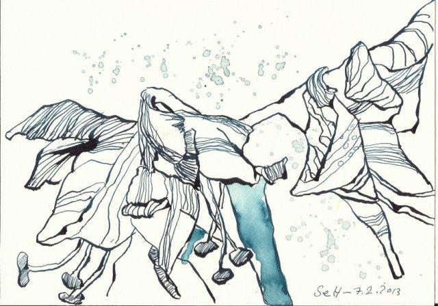 Neujahrs- Amaryllis (c) Zeichnung von Susanne Haun