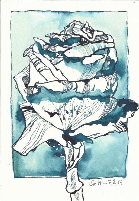 Vernissagerose (c) Zeichnung von Susanne Haun