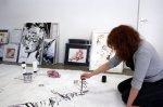 Erster Tag, ich zeichne den Flügel (c) Selbstfoto von Susanne Haun