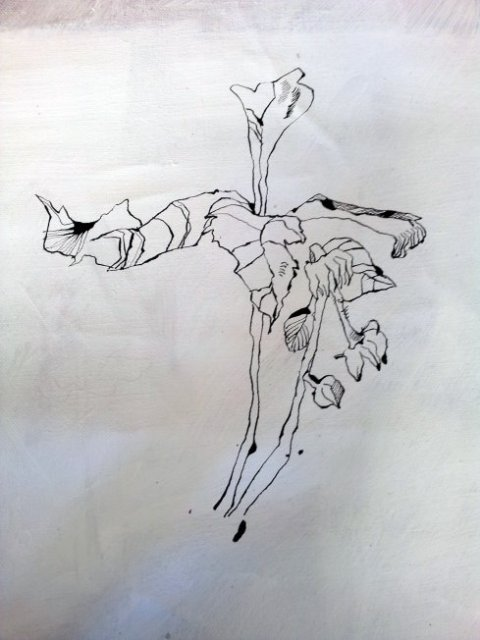Tagesbeginn, die Baumspitze (c) Zeichnung von Susanne Haun