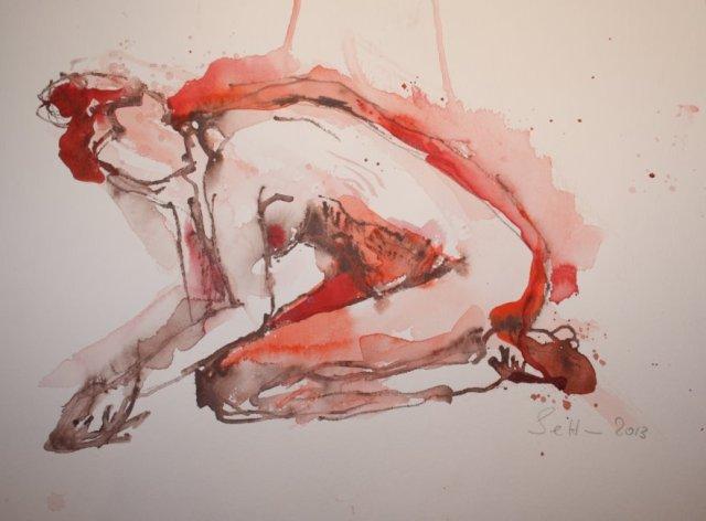 Akt kauernd -  30 x 40  cm (c) Aquarell von Susanne Haun