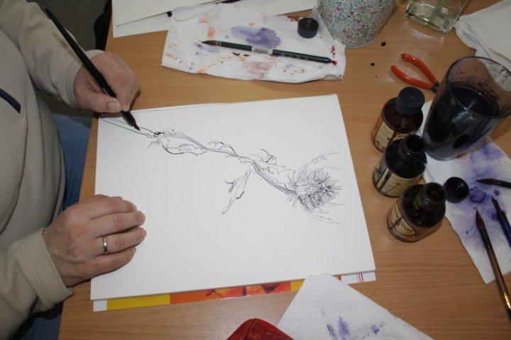 Auch die Distel ist nicht einfach zu zeichnen (c) Foto von Susanne Haun