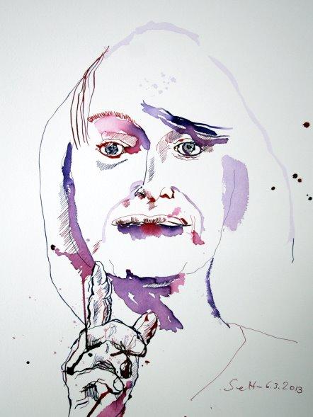 Blatt 2 - Mein Sinnbild von Alice Schwarzer - Tusche auf Bütten - 30 x 40 cm (c) Zeichnung von Susanne Haun