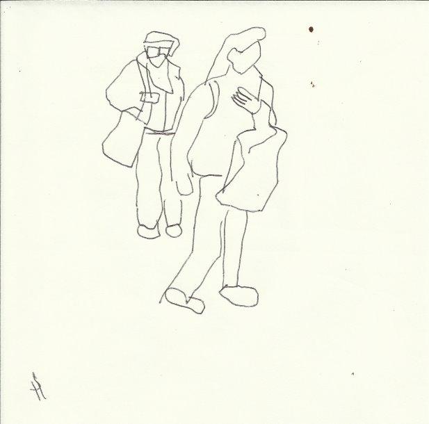 Schwer zu tragen (c) Zeichnung von Susanne Haun