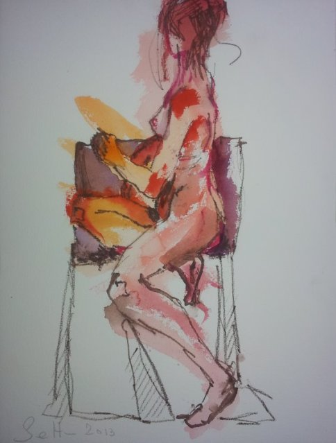 Blatt 1 Das lila Kissen (c) Aquarell von Susanne Haun