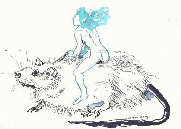 Frauen und Ratten verlassen das Schiff Vers. 2 (c) Zeichnung