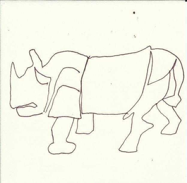 Nashorn - Version 4 (c) Zeichnung von Susanne Haun