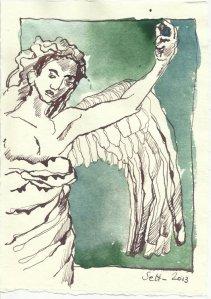 Was hält er hoch - Engel (c) Zeichnung von Susanne Haun