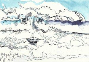 Wellenhexe Version 1 (c) Zeichnung von Susanne Haun