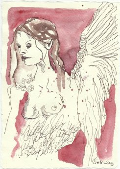 Wo schaut sie hin - Engel (c) Zeichnung von Susanne Haun
