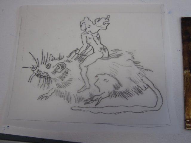 Die Ratte auf Transparentpapier (c) Zeichnung von Susanne Haun