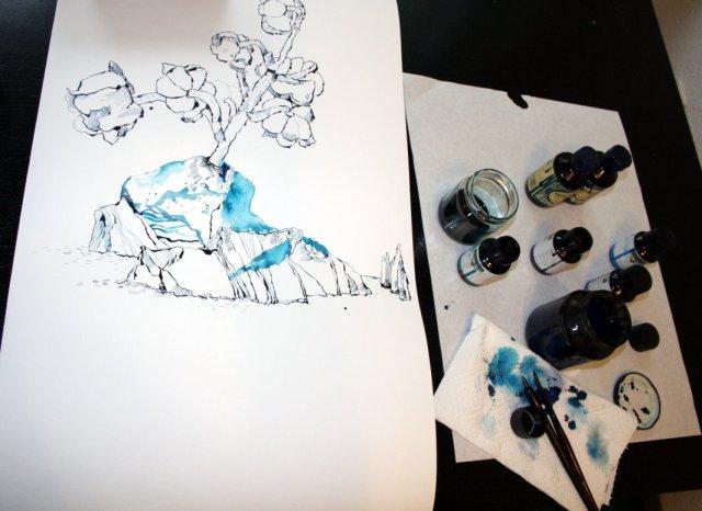 Die Verbindung von Maiglöckchen zur Küste (c) Zeichnung von Susanne Haun