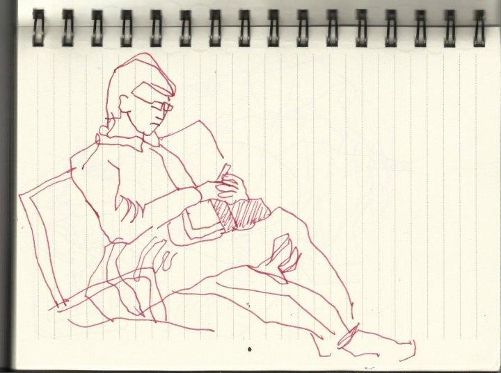 Im Zug (c) Zeichnung von Susanne Haun