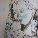 7 Die Zöpfeflechterin - 50 x 50 cm - Tusche auf Leinwand (c) Susanne Haun