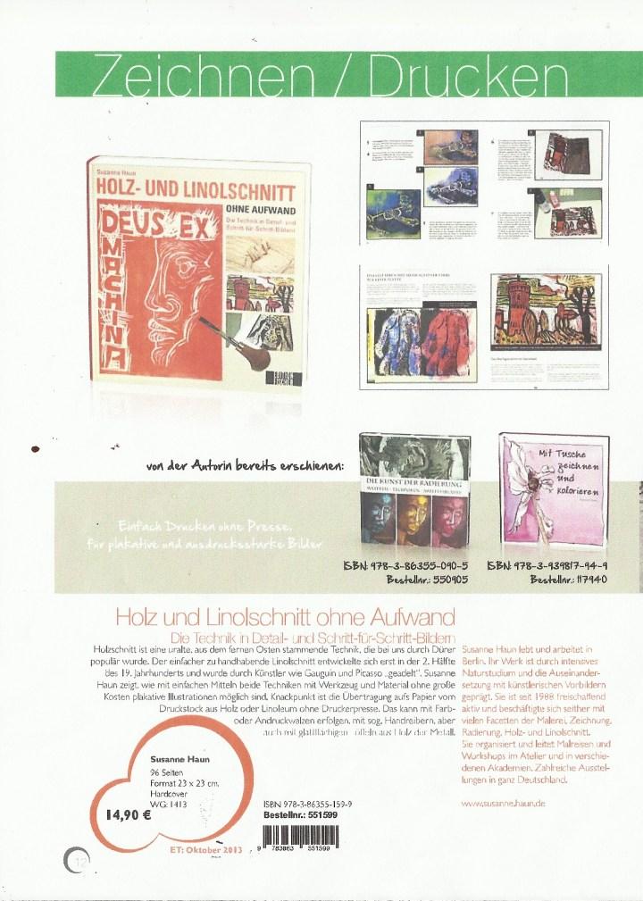 Ankündigung Buch Holz- und Linolschnitt von Susanne