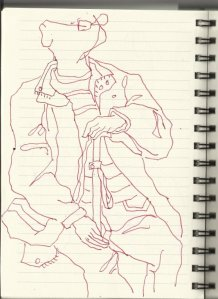 In der S-Bahn Vers.4 (c) Zeichung von Susanne Haun