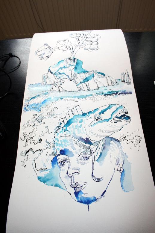 Um die Wellenhexe entstehen Wellen (c) Zeichnung von Susanne Haun
