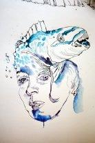 Selbstportrait als Wellenhexe (c) Zeichnung auf der Rolle