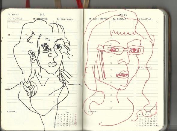 Selbstportrait Tagebuch 21. Woche (c) Zeichnungen von Susanne Haun