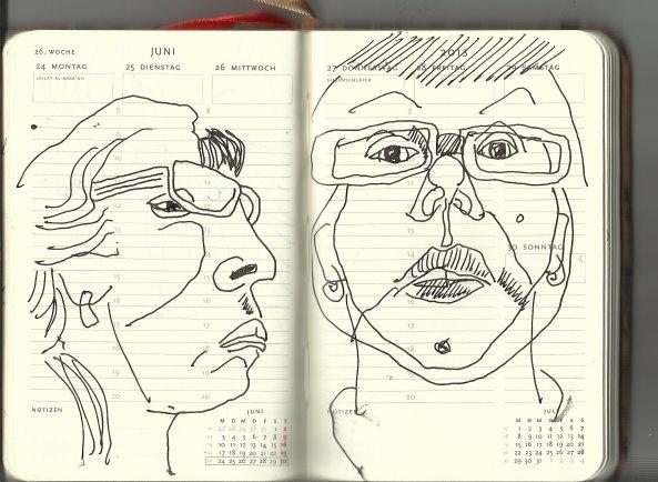 Selbstportrait Tagebuch 26. Woche (c) Zeichnungen von Susanne Haun
