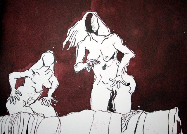 Detail Nackte Fraune vor dunklem Hintergrund - Ich stürze in den Abgrund - 65 x 50 cm (c) Zeichnung von Susanne Haun
