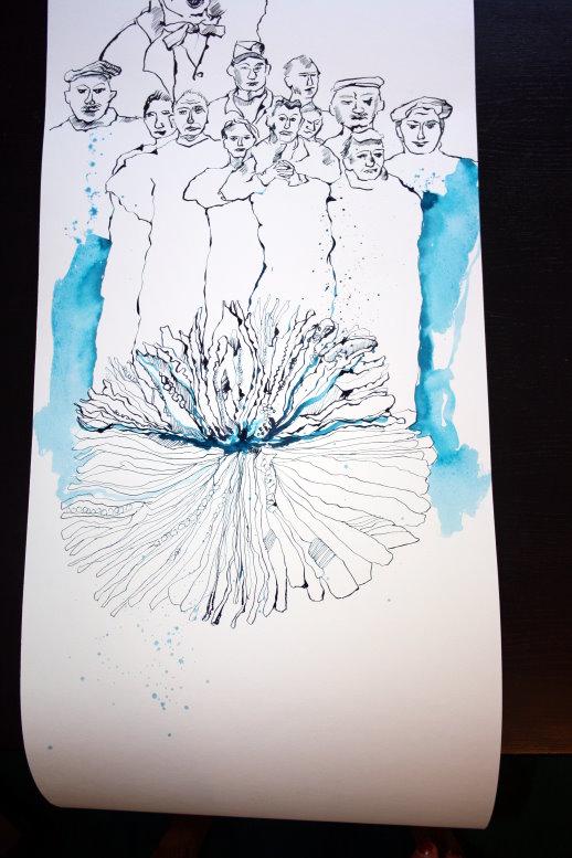 Übergang von Lassalle zur Koralle - Ausschnitt Rolle Nr. 3 (c) Zeichnung von Susanne Haun