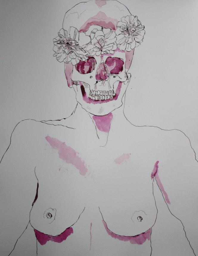 Entstehung Rosen bekränzter Totenkopf (c) Zeichnung von Susanne Haun