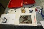 Zinkplatte mit Abdecklack für die erste Ätzstufe (c) Foto von Susanne Haun
