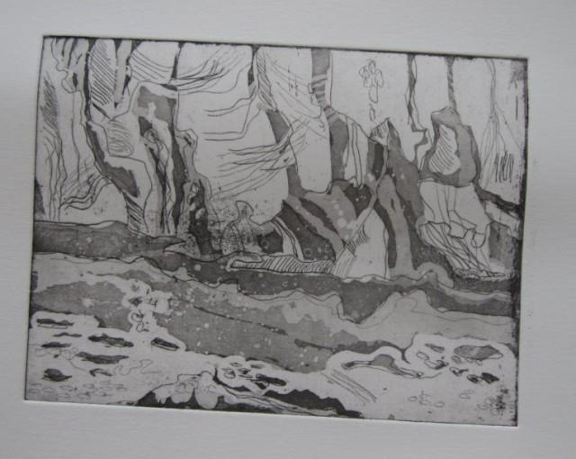 Eisfront der Arktis - 15 x 20 cms (c) Radierung von Susanne Haun