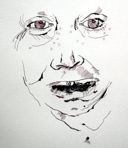 Entstehung Sie raufte sich die Haare 65 x 50 cm (c) Zeichnung von Susanne Haun