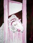 Rollte ein Schafskopf auf die Erde - 65 x 50 cm (c) Zeichnung von Susanne Haun