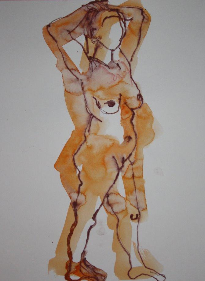 Hände hoch - stehender Akt - 40 x 30 cm - Version 1 (c) Zeichnung von Susanne Haun