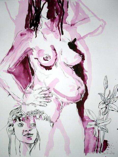 Milchgeschwellte Brüste  - 65 x  50 cm (c) Zeichnung von Susanne Haun