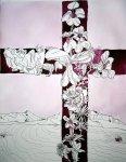 Flammendes Kreuz - Antoniusversuschungen - 65 x 50 cm (c) Zeichnung von Susanne Haun