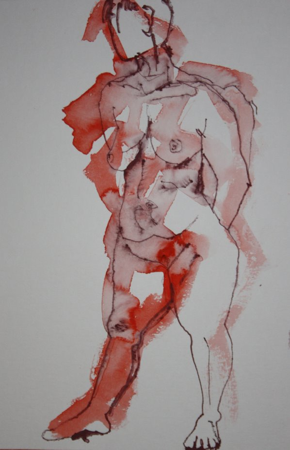 Selbstbewußter stehender Akt - 40 x 30 cm - Version 3 (c) Zeichnung von Susanne Haun