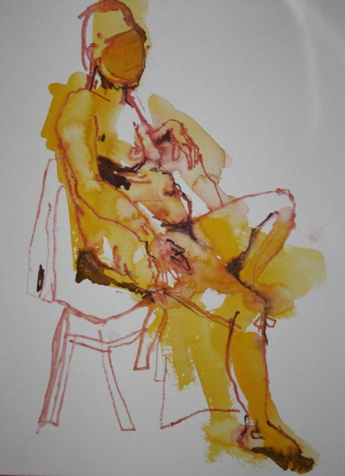Gelber sitzender Akt - 40 x 30 cm - Version 2 (c) Zeichnung von Susanne Haun