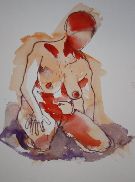 Kniender Akt - 40 x 30 cm (c) Zeichnung von Susanne Haun